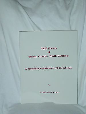 1850 Census Rowan County NC All Six Schedules Jo White Linn 1992 Genealogy Books