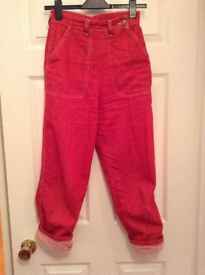 Freddies of Pinewood designer 1950s / Rockabilly style Red Rivet Jeans. Size 26.