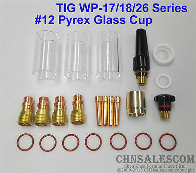 23 pcs TIG Welding Stubby Gas Lens #12 Pyrex Cup 42mm Long Kit for WP-17/18/26