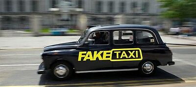 2 x Fake taxi Sticker Car Surf Vinyl Decal Sticker EURO JDM DUBV Funny Jap VW