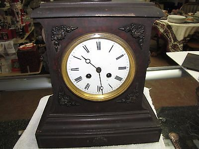 Antique French Cast Iron Mantle Clock