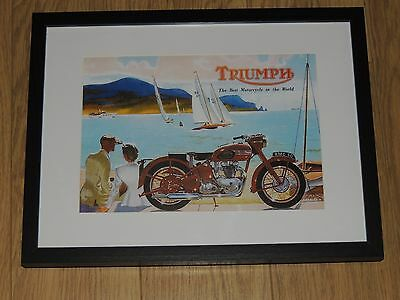 Triumph Poster Framed A4 Print,classic Bike, T110 ,t120,t100,trophy,speed Twin