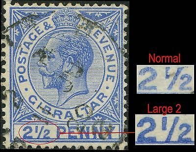 "GIBRALTAR  yt:66  Sc:69  Sg:79ba   2,1/2d   ""LARGE 2 in 1/2""  (1917) Oblit/Used"