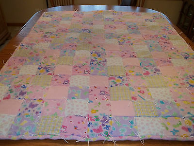 """Handcrafted Baby Girl Flannel Crib Quilt/Throw/Lap & Nap  36"""" x 48"""" , Patchwork"""
