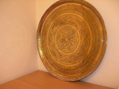 Antique Large engraved brass tray/Benares table top