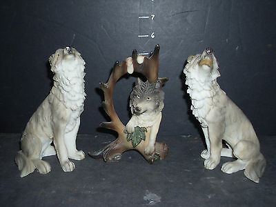 wolf statue resin collection of 3