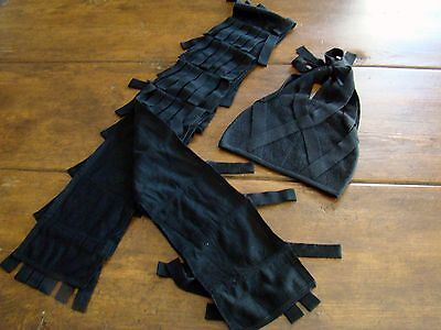 Steinunn Black 100% Wool Unique Fringe Scarf Hat Set Lot Icelandic Designer