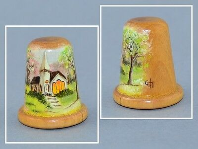 Wood Hand Painted Signed Thimble - Church