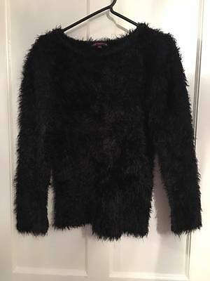 Girls black fluffy jumper and fluffy cardigan 11-12 years