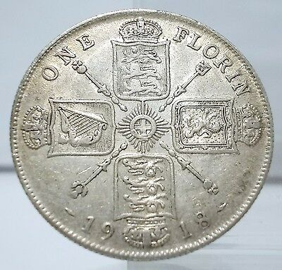 UK 1918 One Florin Silver Coin XF