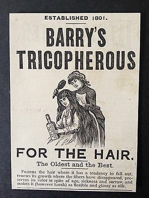 Antique 1888 Ad (1800-10)~Barry's Tricopherous For Hair Growth