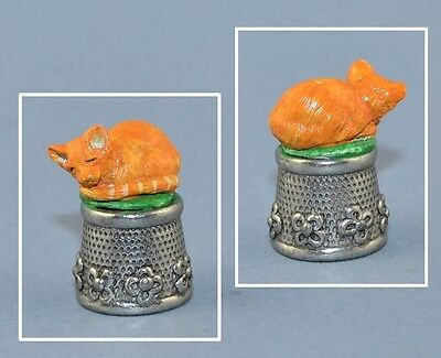 Pewter Hand Painted Thimble - Ginger Cat