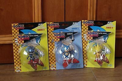Sonic The Hedgehog 3 x Mini Figure Collectables Sonic, Metal Sonic, Super Sonic