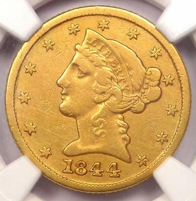 1844-C Liberty Gold Half Eagle $5 - NGC VF Details - Rare Charlotte Gold Coin!
