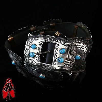 Classic vintage Navajo turquoise Nickel silver CONCHO belt Native American je...