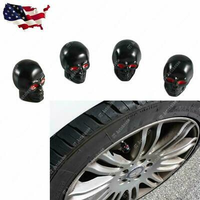 4pcs Tire Wheel Valve Stem Caps Black Skull Head For Car Truck Motorcycle Bike