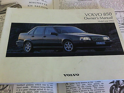 Volvo 850 Owners Manual Handbook Instruction Guide Model Year 1992