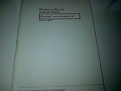 Audi 80 1992 onwards Factory Workshop Manual Automatic Gearbox 097