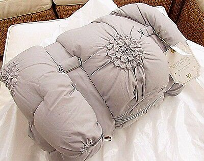 Pottery Barn Teen Ruched Rosette Sleeping Bag, Sold Out Gray, Brand New
