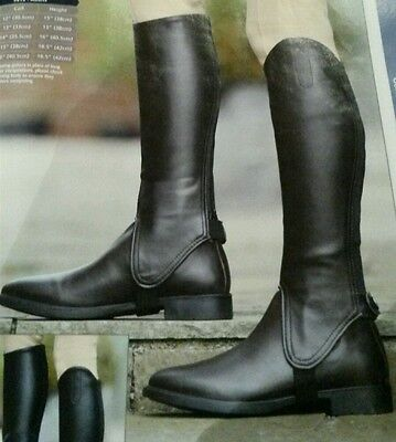 Bnwt Shires Synthetic Leather Show Gaiters Adults Horse Riding Half Chaps