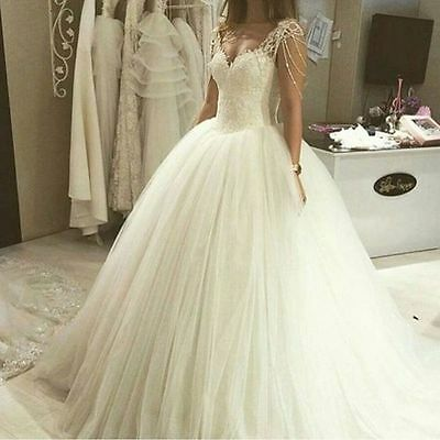 New White/Ivory Lace Wedding Dress Bridal Gown Custom Size 6/8/10/12/14/16