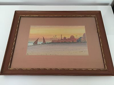 Antique Artwork Watercolour Painting Egyptian Moroccan Scene Signed F A