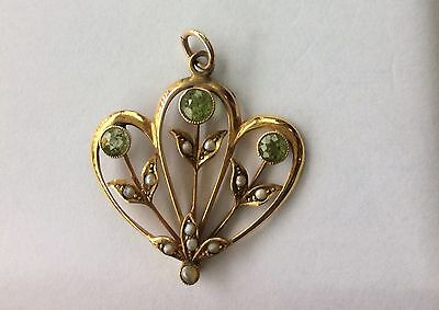 9K Gold Pendant Floral, Antique Peridot + Seed Pearl