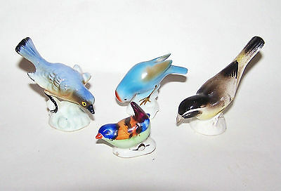 Vintage Collection of Four Colourful Tiny Ceramic/China Wild Birds Ornaments