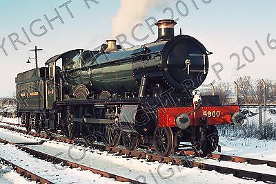 """GWR 4900 Class 5900 Hinderton Hall 6"""" x 4"""" railway photo - snowy day at Didcot"""
