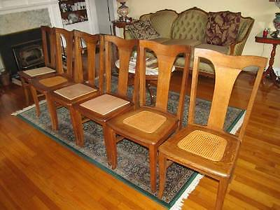 antique tiger oak dining chairs  (six) with seat pads