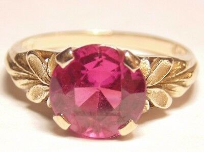 Victorian Art Deco Vintage Estate 10k Solid Yellow Gold Ruby Ring Size 6