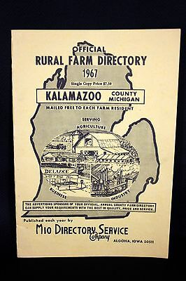 Vtg 1960s Kalamazoo County Michigan Rural Farm Directory Oil Farm Advertising