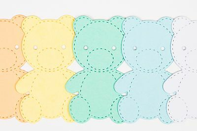 Card Making Embellishments Die Cut Baby Pastel Teddy Bears x7 Mixed Colours.