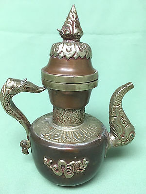 Antique Vintage Ornate Brass & Copper Asian Teapot With Dragon Featurers