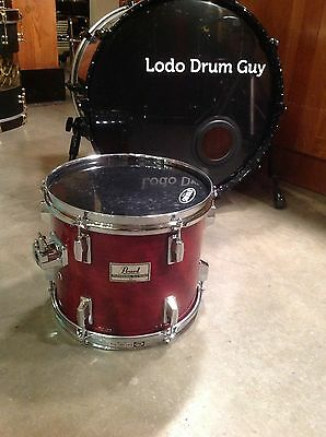 "12"" Pearl DLX PROFESSIONAL Tom Drum BIRCH CHERRY LACQUER 10x12 MOUNTED JAPAN"