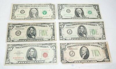 Mixed United States Notes Legal Tender $27.00 Face Value Winner Takes All 6 Note