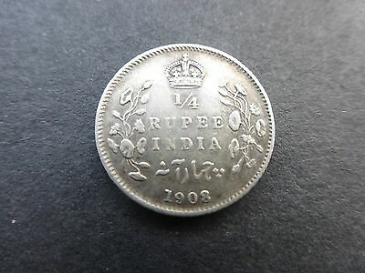 Edward vii 1/4 Rupee coin 1908 good / high grade