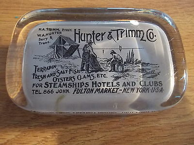 Vintage Glass Souvenir Paperweight-HUNTER & TRIMM Seafood, Fulton Market, NY