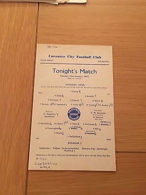Coventry City V Fulham, Reserves, Football Combination, 1967