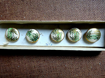 5 Beautiful Vintage Porcelain Oriental Buttons With Bamboo Pattern