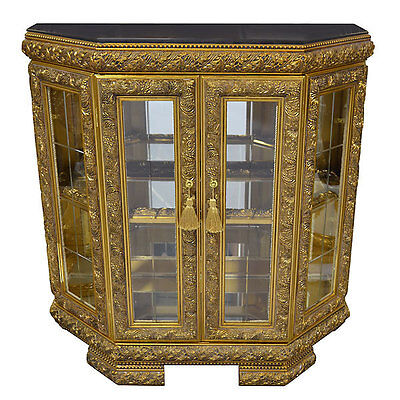 43''L Stunning French Style  Gilt Commode Vitrine Display Cabinet, Marble Top