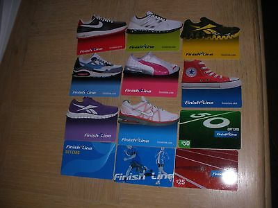 Finish Line  12 different new collectible gift cards