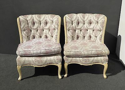 Pair Beautiful Vintage French Provincial Tufted Floral Design Accent CHAIRS