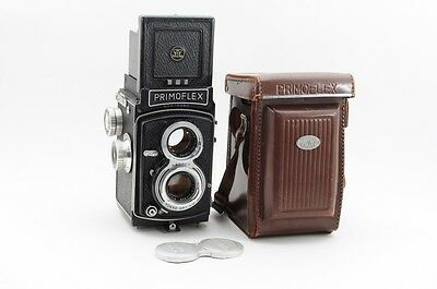EXCELLENT++++ PRIMO PRIMOFLEX TLR Film Camera with Leather Case #11715