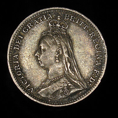 1891 UK Great Britain 3 pence silver XF