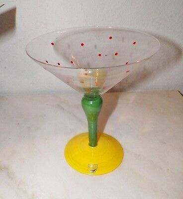Orrefors Clown Martini Glass Anne Nilsson Never Used With Original Box Red Dots