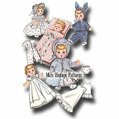 """Vtg 1950s Baby Doll Clothes Pattern ~ 11"""" 12"""" Tiny Tears, Betsy Wetsy, Dy Dee"""
