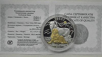 2014 Kazakhstan 500 Tenge Dogs Silver proof coin Gold Gilded in OGP