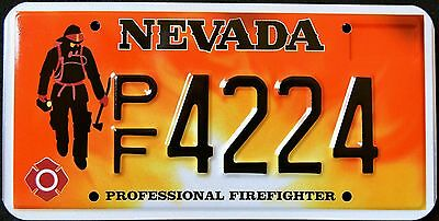 """NEVADA """" FIREFIGHTER - FIRE FIGHTER """" MINT """" NV Graphic License Plate"""