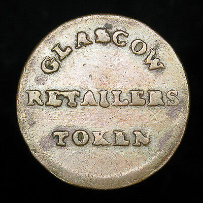 Glascow Retailers Token 1830 Farthing Conder